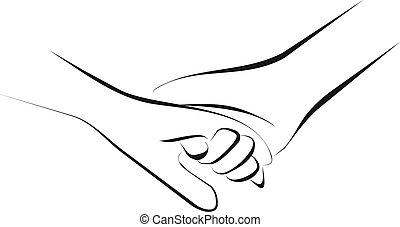 segurando, mãos