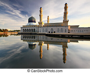 Morning reflection of Likas mosque or also known as Masjid...