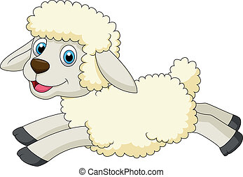 Cute sheep cartoon jumping - Vector illustration of Cute...