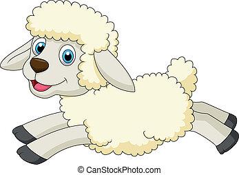 lindo, sheep, caricatura, Saltar