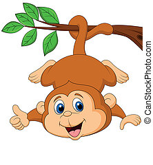 Cute monkey hanging on a tree branc - Vector illustration of...