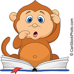 Cute monkey cartoon reading book - Vector illustration of...