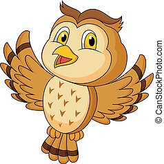 Cute owl cartoon flying - Vector illustration of Cute owl...