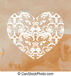 Heart applique on watercolour background - Vector...