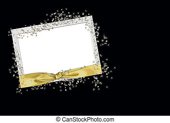 gold ribbon frame and glitter - Frame with gold knotted...