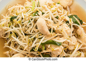 fried bean sprouts mix tofu : thai and chinese food