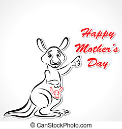 Happy Mother and Baby Kangaroo