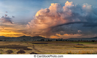 Ethiopian rural landscape - A rural lanscape with stormy...