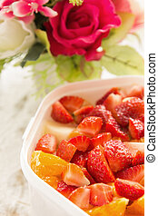 strawberry fruit salad in the bowl