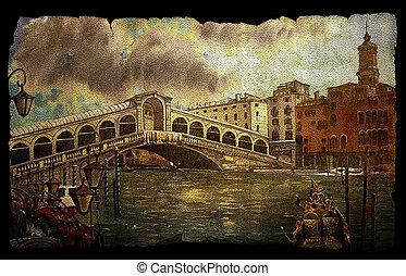 A view of Rialto bridge in Venice - A view of the canal with...