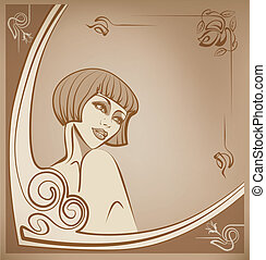 tender sepia roaring 20-s girl back - beauty brunette young...