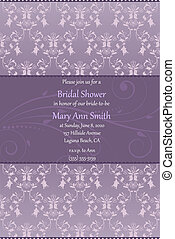 Bridal shower invitation in beige and blue colors