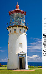 Kilauea Lighthouse, Kauai, Hawaii - Tall white stucco...