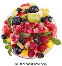fresco, tazón, ensalada, frutas