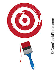 Paintbrush Target - Paint brush painting a large red target...
