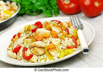 pollo, vegetales,  risotto