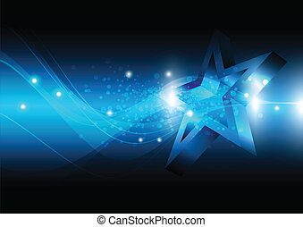 star with technology background