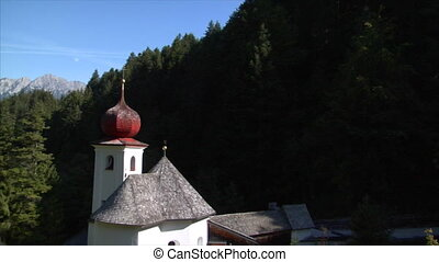 fly by little alp chapel - AUSTRIA - SEPTEMBER 23: A fly by...