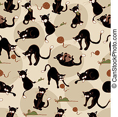 Seamless Black Cats - Black cats in acction seamless...