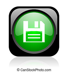 disk black and green square web glossy icon