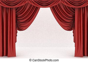開いた, 劇場, 赤, カーテン