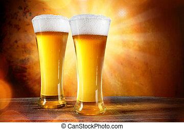 bière, lunettes