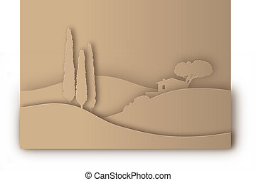 Italy silhouette - tuscany landscape stylized as paper...