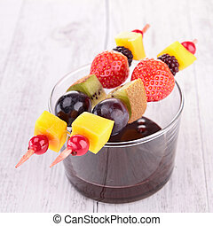 fruit skewer and chocolate sauce