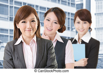 Confident Asian business woman team, closeup portrait on...