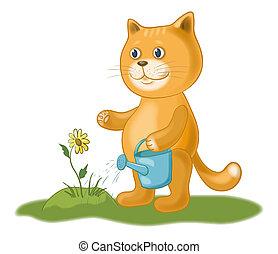 Cat watering a flower