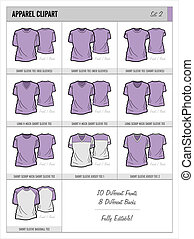 Blank Apparel Templates - Set 2 - These blank apparel...