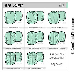 Blank Apparel Templates - Set 8 - These blank apparel...