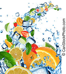 Fresh fruits in water splash - Fresh fruits in water splash,...