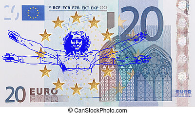 European flag  - A European flag with the Vitruvian Man