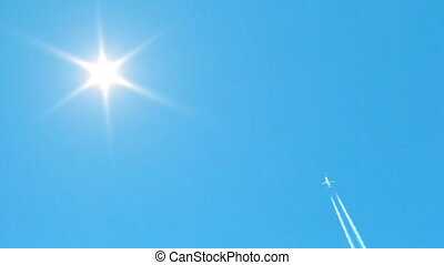 Jet airplane crosses the sky