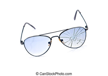 glasses - broken blue antisun glasses isolated