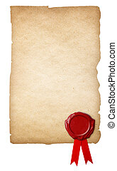 Old paper with wax seal and ribbon isolated on white...