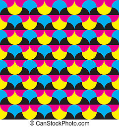 Cyan, magenta yellow, black hypnotic shapes seamless background