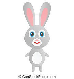 Cute easter bunny - art, hare, eggs, card, gift, gray, cute,...