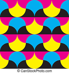 Cyan, magenta yellow, black hypnotic shapes background