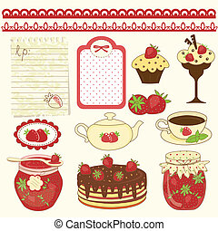 Set of strawberry design elements