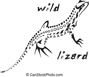 Tribal tattoo Wild lizard - Black and white vector: wild...