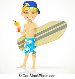 Teen boy with drink and surfboard - Cute teen boy with a...