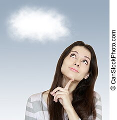 Thinking woman looking up with white cloud above on blue background