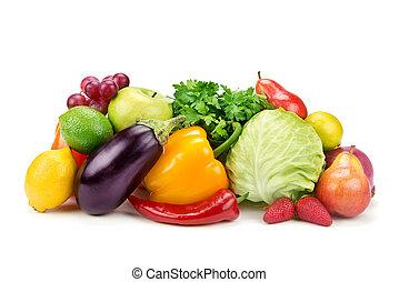 セット, 野菜, 隔離された, 背景, 成果, 白