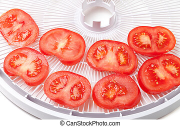 Fresh tomato on food dehydrator tray, ready to dry Isolated...