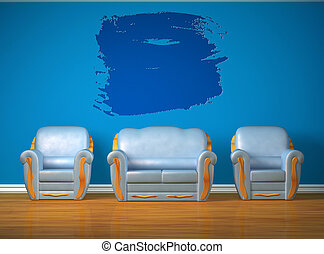 Two blue chairs with couch in minimalist interior