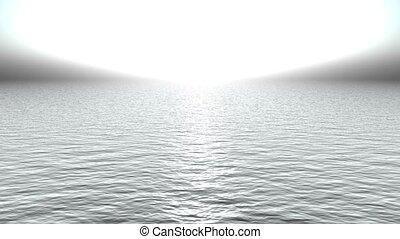 white light reflecting on ocean like heaven.