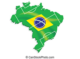 brazil map flag soccer field
