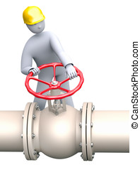 Open or close the gas - oil valve - Man working in oil or...